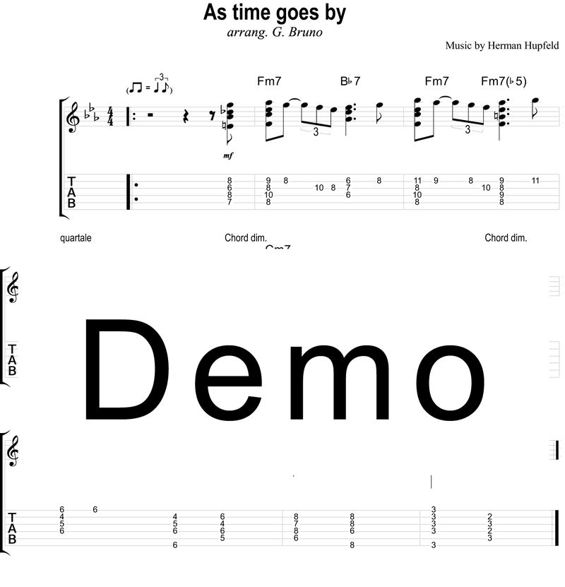 As Time Goes Chord Melody Sheet Music